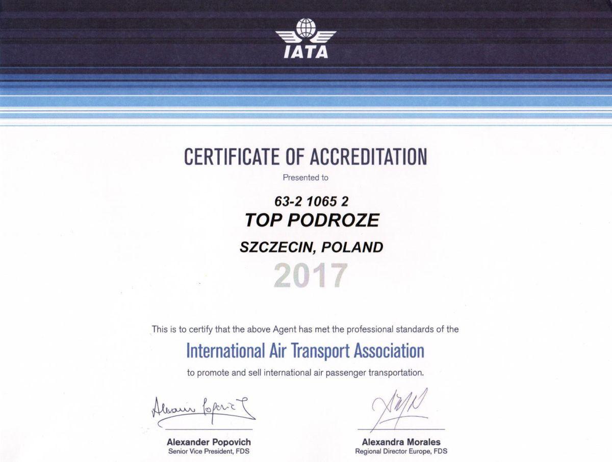 certyfikat IATA 2017