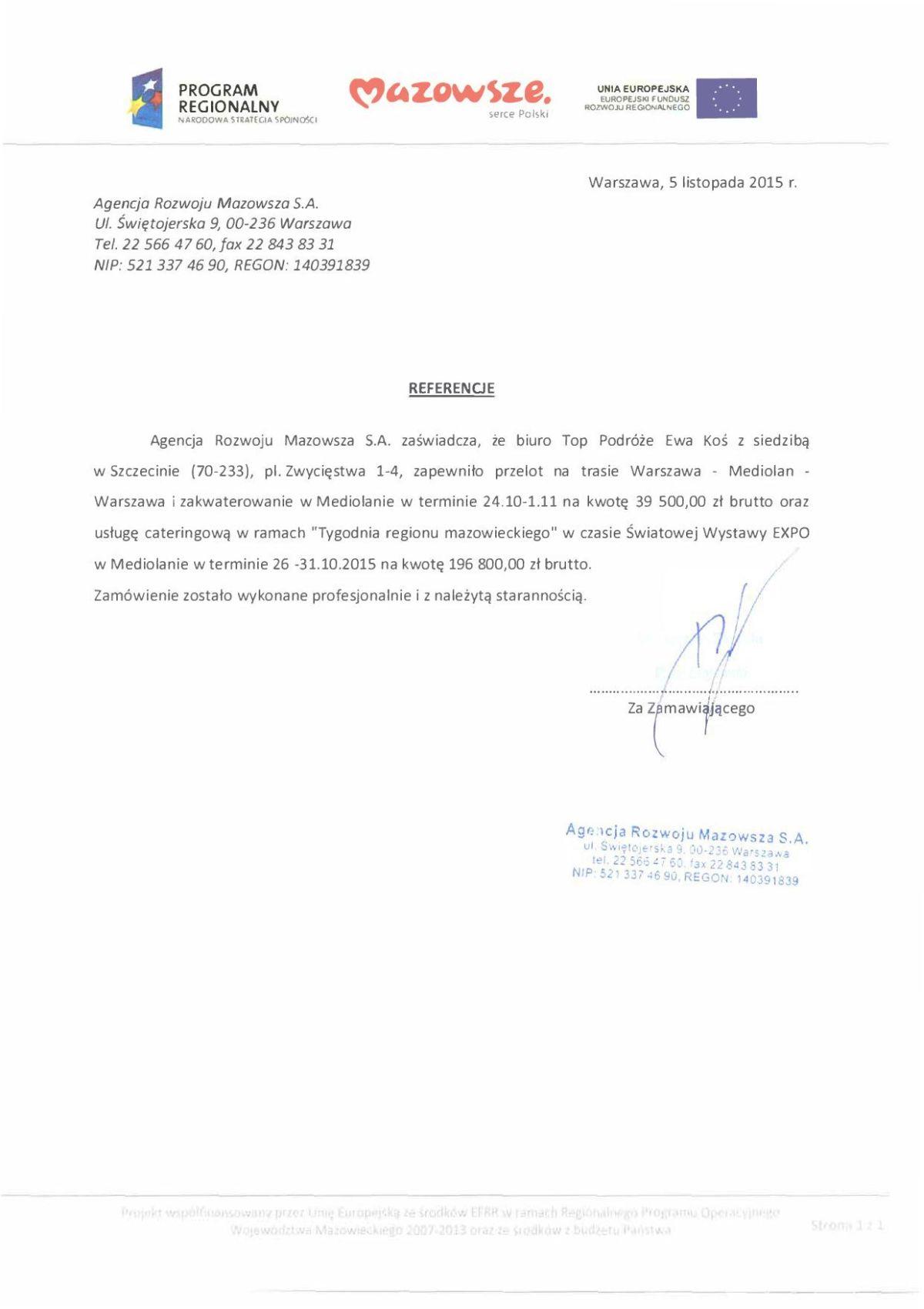 referencje Agencja Rozwoju Mazowsza Mediolan
