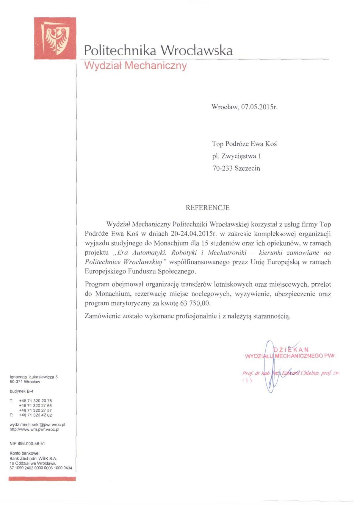 referencje Politechnika Wrocławska