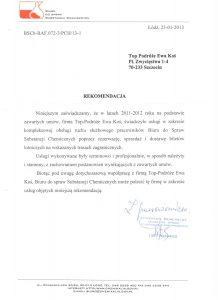 referencje Biuro do Spraw Substancji Chemicznych