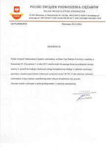 referencje Polski Związek Podnoszenia Ciężarów